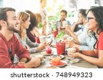 happy friends having coffee... | Shutterstock . vector #748949323