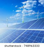 solar panels and wind... | Shutterstock . vector #748963333