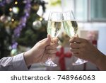 christmas party drinking... | Shutterstock . vector #748966063