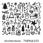 christmas doodles. hand drawn... | Shutterstock . vector #748966153