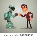 man vs robot. vector flat...   Shutterstock .eps vector #748973353