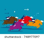 business people ride bull and...   Shutterstock .eps vector #748977097