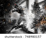 3d science fiction soldier... | Shutterstock . vector #748980157