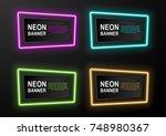 set of black glossy banners... | Shutterstock .eps vector #748980367