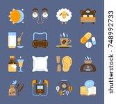 insomnia icon set sleeplessness ... | Shutterstock .eps vector #748992733