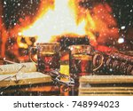 Small photo of Two glass mugs of hot drink or alcoholic drink or mulled red wine and antique books in front of warm fireplace. Magical relaxed cozy atmosphere near fire. Winter concept, Snow effect