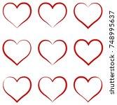 heart outline red  set  symbol... | Shutterstock .eps vector #748995637