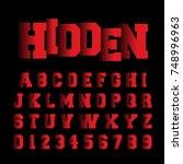 alphabet font template. set of... | Shutterstock .eps vector #748996963