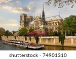 Paris  Notre Dame  With Boat O...