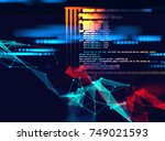 programming code abstract... | Shutterstock . vector #749021593