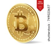 bitcoin. 3d isometric physical...   Shutterstock .eps vector #749023657