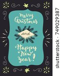 merry christmas and happy new... | Shutterstock .eps vector #749029387