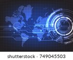 abstract technology with world... | Shutterstock .eps vector #749045503
