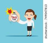 businesswoman hold stopwatch... | Shutterstock .eps vector #749047813