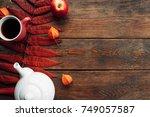 hot beverage to keep warm in... | Shutterstock . vector #749057587