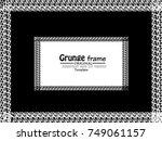 grunge halftone frame. isolated ... | Shutterstock .eps vector #749061157
