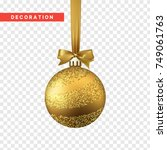 xmas balls gold color.... | Shutterstock .eps vector #749061763