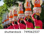 group of beautiful balinese... | Shutterstock . vector #749062537