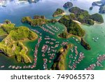 aerial view of floating... | Shutterstock . vector #749065573