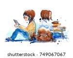 watercolor painting... | Shutterstock . vector #749067067