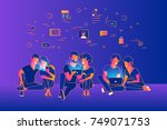 community of young people using ... | Shutterstock .eps vector #749071753