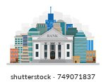 bank building on the city... | Shutterstock .eps vector #749071837