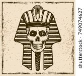 egyptian pharaoh skull head... | Shutterstock .eps vector #749074627