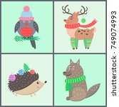 animal icons  collection of... | Shutterstock .eps vector #749074993