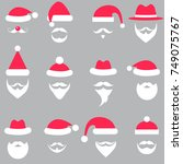 set of santa hats and beards | Shutterstock .eps vector #749075767