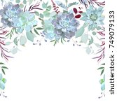 semicircle garland herbal frame ... | Shutterstock .eps vector #749079133