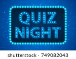 quiz night lamp concept. vector ... | Shutterstock .eps vector #749082043