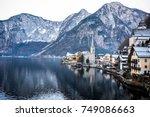 beautiful winter landscape and... | Shutterstock . vector #749086663