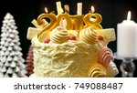 2018 happy new year showstopper ...   Shutterstock . vector #749088487