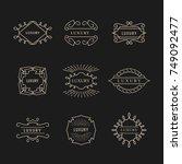 set luxury logo vintage badge... | Shutterstock .eps vector #749092477
