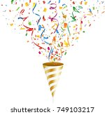 golden party popper with... | Shutterstock .eps vector #749103217