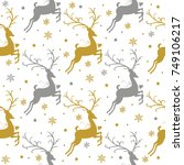 christmas deer vintage seamless ... | Shutterstock .eps vector #749106217