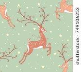 christmas deer vintage seamless ... | Shutterstock .eps vector #749106253