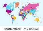 color world map vector. | Shutterstock .eps vector #749120863