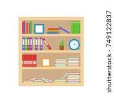 bookshelf with books and folder....   Shutterstock .eps vector #749122837
