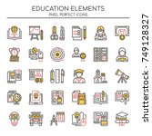 education elements   thin line... | Shutterstock .eps vector #749128327