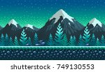 pixel art seamless background.... | Shutterstock .eps vector #749130553