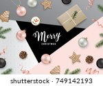 christmas flat lay design with... | Shutterstock .eps vector #749142193