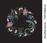 embroidery floral pattern with...   Shutterstock .eps vector #749148613