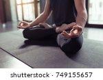 close up hands of man doing... | Shutterstock . vector #749155657