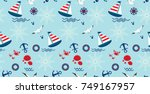 seamless pattern with sailboat  ... | Shutterstock .eps vector #749167957