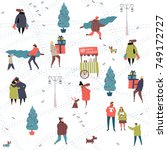 christmas city preparations... | Shutterstock .eps vector #749172727