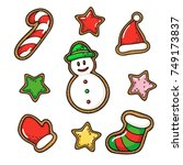 hand drawn vector gingerbread... | Shutterstock .eps vector #749173837