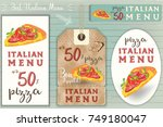 italian pizza stickers and... | Shutterstock .eps vector #749180047