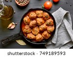 meatballs with tomato sauce in... | Shutterstock . vector #749189593