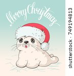 greeting card  with a cute baby ... | Shutterstock .eps vector #749194813